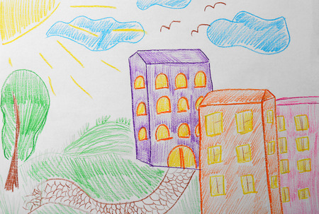Childs drawing of buildings in city Stock Photo