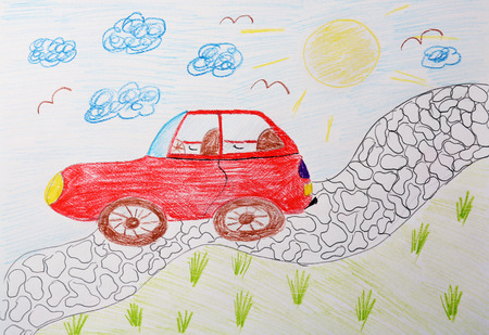 Child's drawing of red car