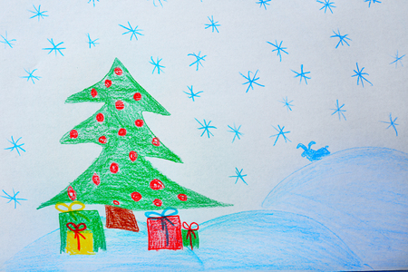 Childs drawing of Christmas tree with presents