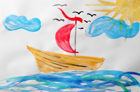 Child's painting of ship in sea Stock Photo