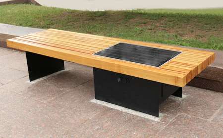 Bench with solar panel on street Banco de Imagens