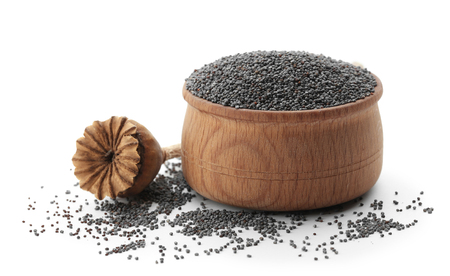 Poppy seeds and dried pod on white background Stock Photo