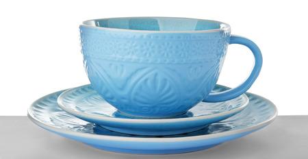 Ceramic dishware on white background Stock Photo