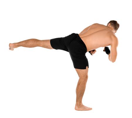 Male kickboxer on white background Stock Photo
