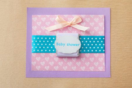 Cute Thank you card for baby shower on color background