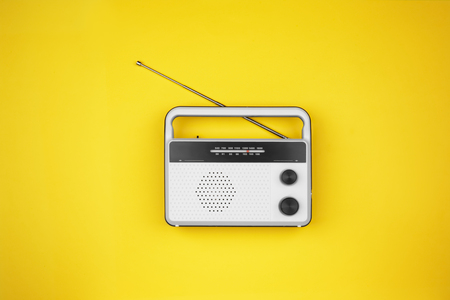 Radio receiver on color background