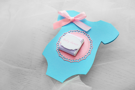 Cute Thank you card for baby shower on light background Stock Photo