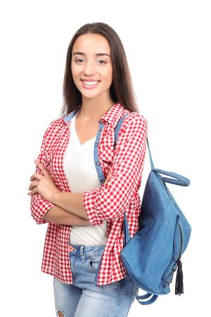 Pretty student on white background