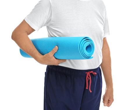 Mature man on white background 免版税图像