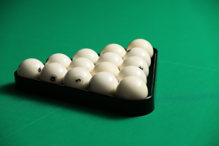 Billiard balls in triangle on table