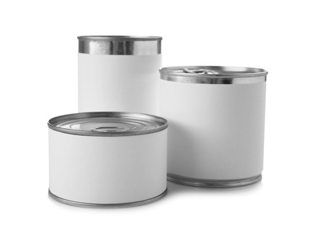 Different tin cans on white background Stock fotó