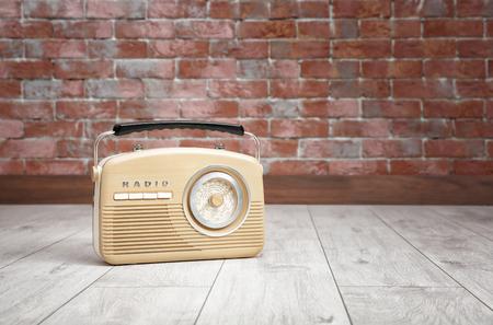 Retro radio on floor Stock Photo