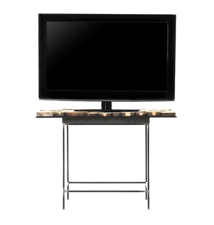 Stand with modern TV on white background