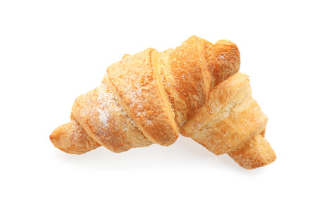 Delicious croissants on white background