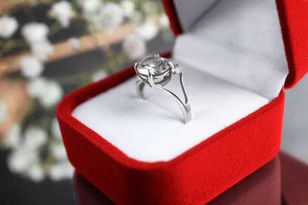 Beautiful engagement ring in box, closeup
