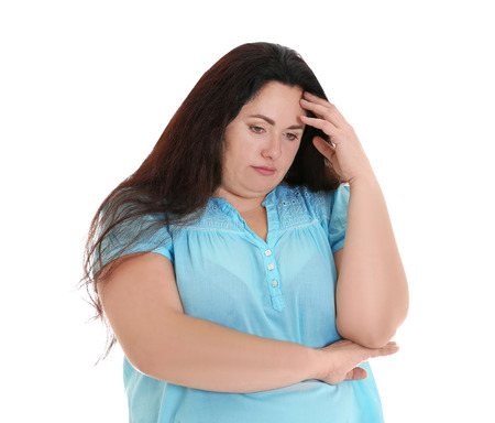 Overweight young woman on white background 版權商用圖片