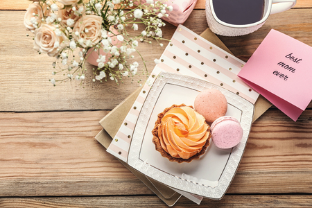 Delicious desserts and greeting card with words
