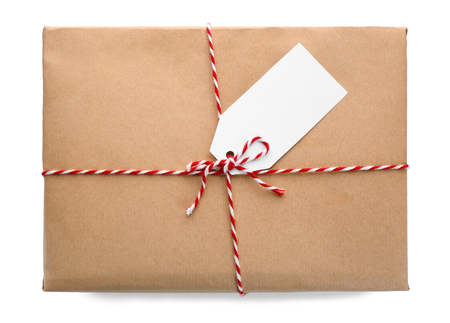 Parcel gift box on white background Stock Photo