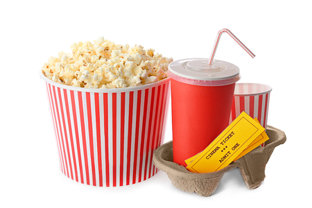 Cup with popcorn, soda and cinema tickets on white background Reklamní fotografie