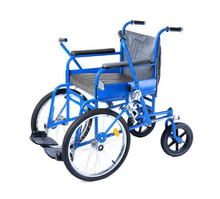 Blue wheelchair on white background