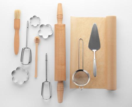Kitchen utensils for pastries on white background Archivio Fotografico