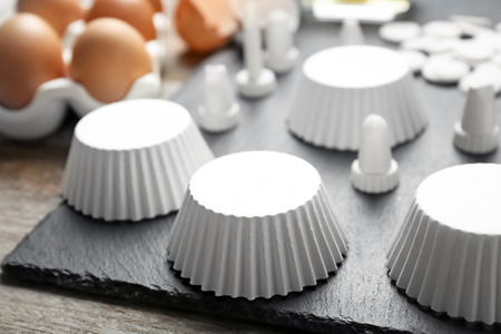 Kitchen utensils for pastries on slate plate