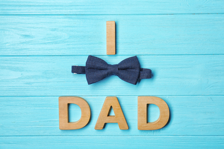 Creative composition for Fathers Day on wooden background Banco de Imagens