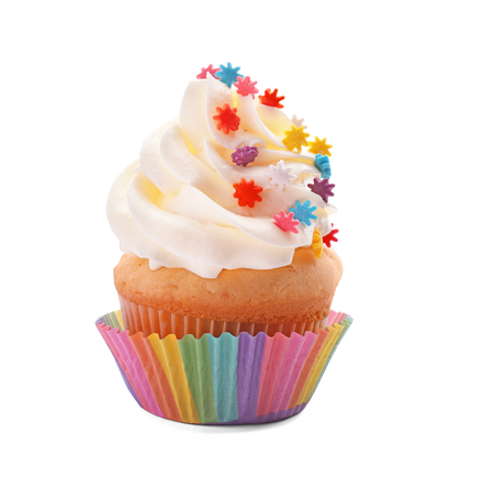 Tasty cupcake on white background