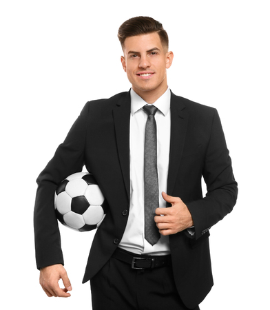 Handsome manager with soccer ball on white background Stock Photo