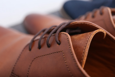 Pair of stylish male shoes, closeup