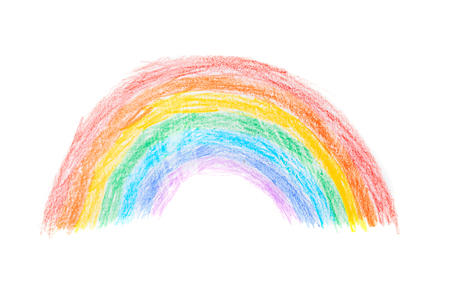 Pencil drawing of rainbow on white background 写真素材
