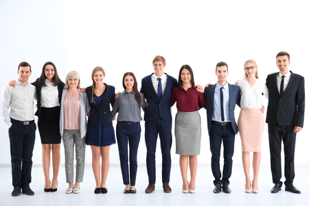 People standing together on light background. Unity concept