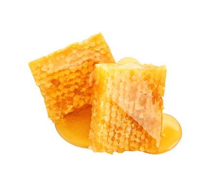 Tasty honeycombs on white background