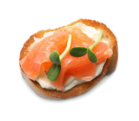 Tasty fresh bruschetta on white background