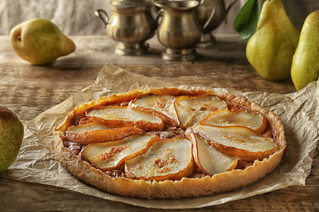 Delicious pear tart on table Stock fotó
