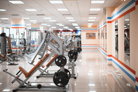 Gym interior with  modern equipment
