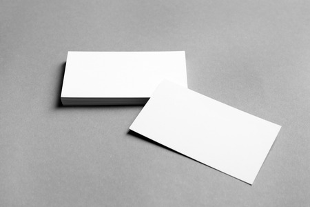 Mock up of business cards on grey background Stockfoto