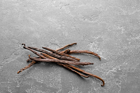 Vanilla sticks on grey background