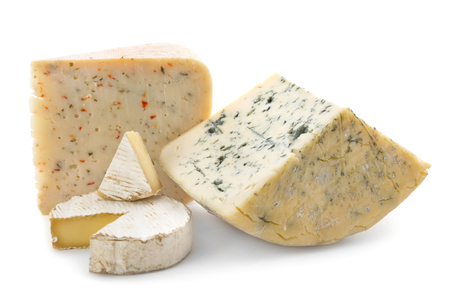 Different kinds of delicious cheese on white background