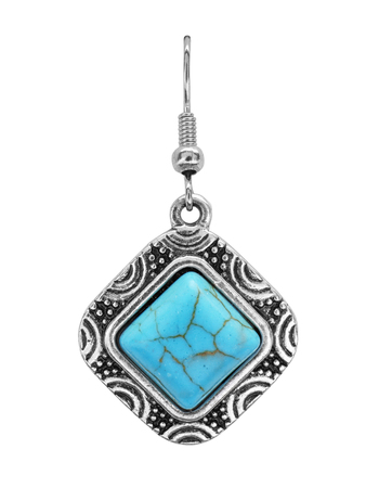 Beautiful earring with turquoise on white background