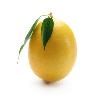 Fresh ripe lemon with leaves on white background Imagens