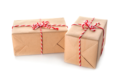 Two parcel gift boxes on white background Banco de Imagens - 112621718