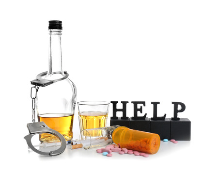 Composition with word Help, alcohol, cigarettes, drugs and handcuffs on white background Фото со стока
