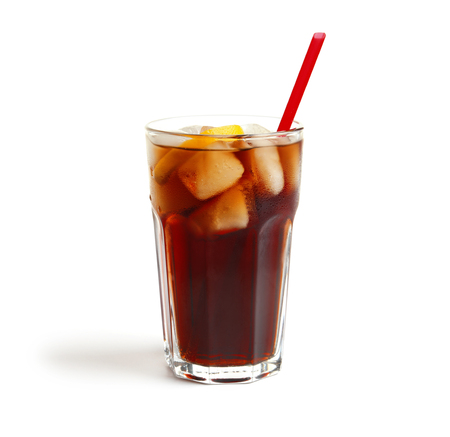 Cold cola in glass on white background 스톡 콘텐츠