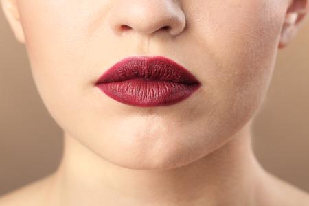 Woman with beautiful makeup, closeup. Professional visage artist work Banque d'images