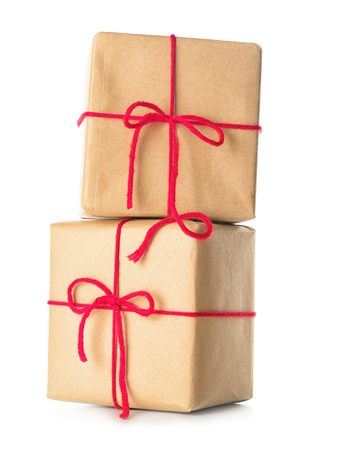 Two parcel gift boxes on white background Imagens