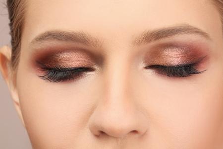 Woman with beautiful makeup, closeup. Professional visage artist work Stock fotó