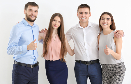Young people on white background. Unity concept