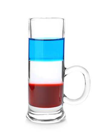 Layered cocktail in colors of American flag on white background