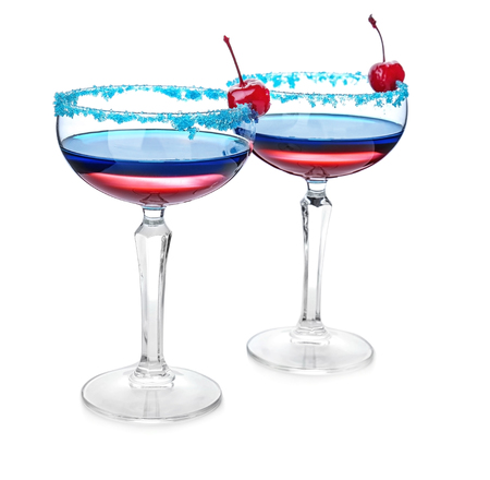Layered cocktails in colors of American flag on white background